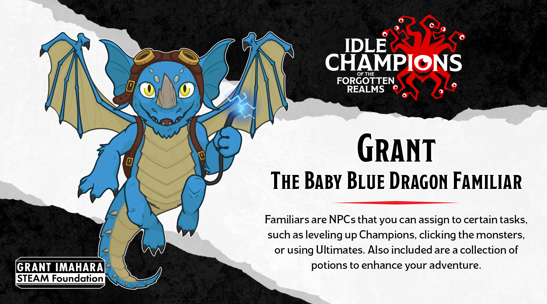 Dungeons & Dragons Grant Baby Blue Dragon Familiar Grant Imahara STEAM Foundation